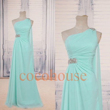 One Shoulder Mint Beaded Long Bridesmaid Dresses Prom Dresses Hot Homecoming Dresses Evening Dresses Wedding Party Dresses Formal Dresses