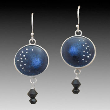 Night Sky Cloisonne Enamel Earrings