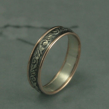 Going Baroque Touch of Gold--Two Tone Wedding Band--Bimetal Wedding Ring--Oxidized Vine and Leaf Band--Your Choice of Gold Edging Color--