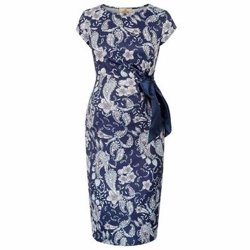 Summer Women Maternity Dress Floral Pattern O Neck Hips-Wrapped Slim Fit Tunic