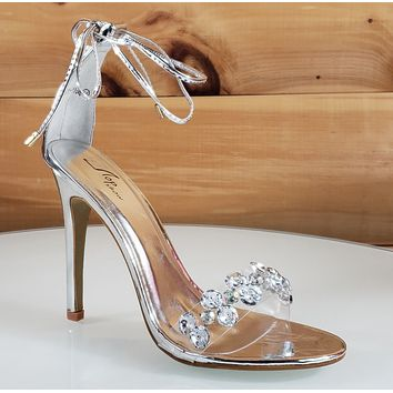 """Top Show Silver Tie Up Crystal Toe Strap 4 """" High Heel Sandal Shoe"""