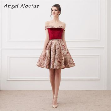 Sexy Burgundy Short Cocktail Dress 2018 Lace Up Prom Gown