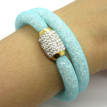 Top Quality Jewelry Thousands Of Stone Inside Colorfast Gold Magnet Clasp Crystal Mesh Bangles Bracelets For Women