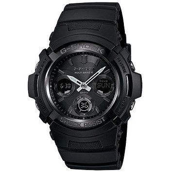 Casio Mens Solar Multi-Band Atomic 6 G-Shock - All-Black Design - Analog-Digital