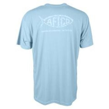 Aftco Cipher Mens Short Sleeve shirt in Sky