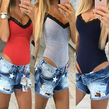 Women Sexy V-neck One Piece Cami Black Gray Red Tank Top Camis Tops Slim Cami Crop Top T Shirt Bodysuit