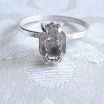 Smokey Herkimer Diamond Quartz Crystal Ring - Smoky Quartz Ring - Unique Engagement Ring - Raw Crystal Ring - Ready to Ship - Ring Size 8