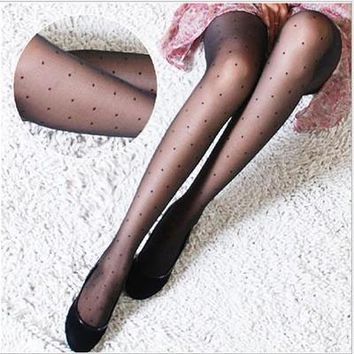 Fashion New Women Silk Stockings Pantyhose Ribbed Over Sexy Slim Tights Women Girls Sexy Black Tinted Sheer Fashion Gifts QR371