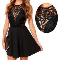 Summer Women Sheer Lace Slim Bodycon Dress Backless Beach Mini Dress YRD