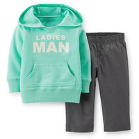 2-Piece Hooded Top & Canvas Pant Set