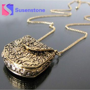 Vintage Sweater Coat Necklace Unique Bag Box Shape Carved Locket Long Chain