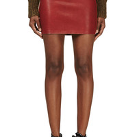 Isabel Marant Brick Red Suede And Leather Diamon Mini Skirt