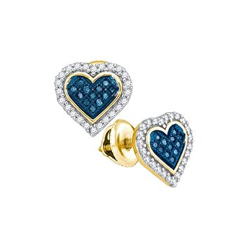 10kt Yellow Gold Womens Round Blue Colored Diamond Heart Love Stud Screwback Earrings 1/4 Cttw