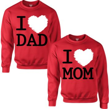 I LOVE DAD I LOVE MOM COUPLE SWEATSHIRT