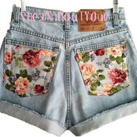 High Waisted Rolled Floral Shorts by SheaBoutique on Etsy