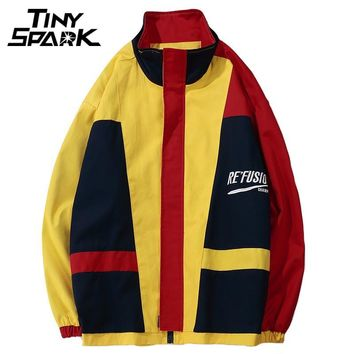 Colorful Jackets Men Hip Hop Loose Windbreaker Full Zipper Vintage Patchwork Coats Casual Street wear Yellow