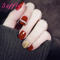 Saffly Fashion red and Gold False Nail 24pcs with Diamonds Solid color Nail Tips long Square head Fake Nail Tips for Daily life
