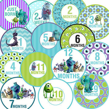 14 Monsters Inc Disney Baby Boy or Girl Monthly Milestone Onesuit Stickers Newborn Shower Gift
