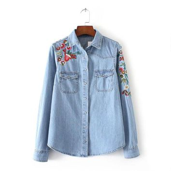 Spring Vogue Women Clothing Floral Embroidered Denim Blouse Loose Lapel Slim Cotton Denim Shirt Long Sleeve Female Blouses