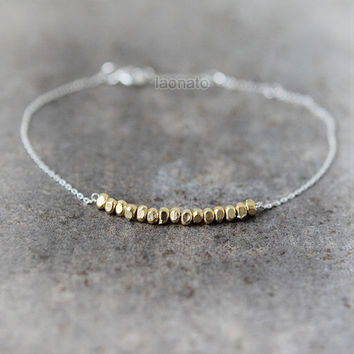 Gold Nuggets Bracelet in 925 sterling silver