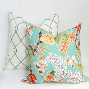 Tropical floral decorative throw pillow. lumbar,18 x 18. 20 x 20. 22 x 22. 24 x 24. 26 x 26 euro sham.