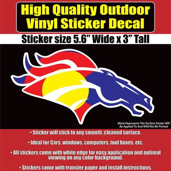 Denver Broncos Colorado Flag Vinyl Car Window Laptop Bumper Sticker Decal