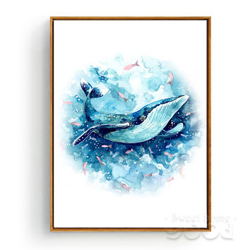 Watercolor Whale Canvas Art Print Poster, Wall Pictures for Home Decoration, Giclee Wall Decor CM015