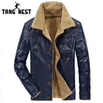 TANGNEST 2018 PU Leather Men's Jacket New Warm Fashion Jacket Plus Velvet Winter Windbreaker Asian Size Jacket MWP293