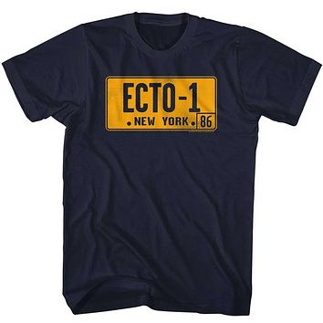 The Real Ghostbusters T-Shirt Ecto 1 License Plate Navy Tee