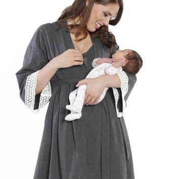 Maternity & Nursing Nightgown and Robe Set