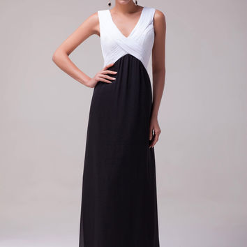 Black and White Deep V-Neck Sleeveless Tie Back Chiffon Maxi Dress