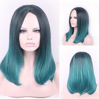 45cm Fashion Sexy Medium Long Natural Straight Central Parting Full Wig
