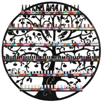 Ornate Bird & Tree Design Black Metal Wall Mounted 6-Tier Nail Polish Organizer / Display Rack - MyGift®
