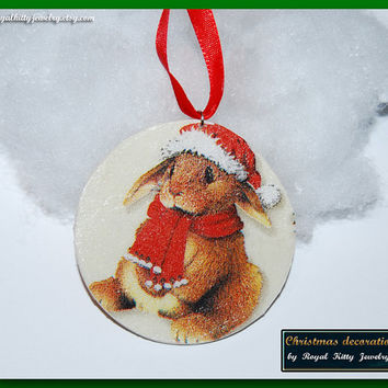 Rabbit Christmas decoration,  handmade Christmas decoration, decoupage decoration, Christmas Ornament, Christmas Gift.