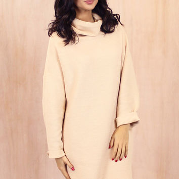Oversized Cocoon Roll Neck Ribbed Long Sleeve Jumper in Cream