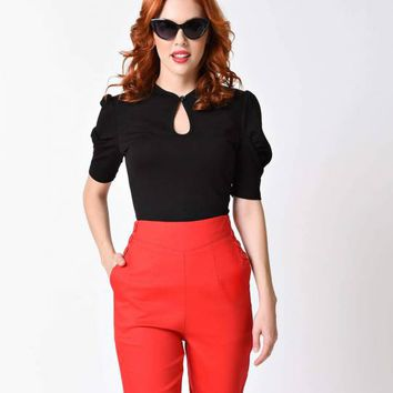 Voodoo Vixen Black Dita Teese Keyhole Stretch Top