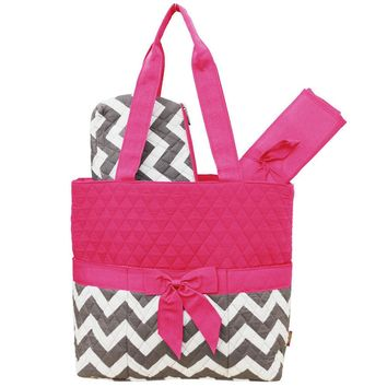 Princess Chevron Fun Print Quilted three piece Diaper Bag