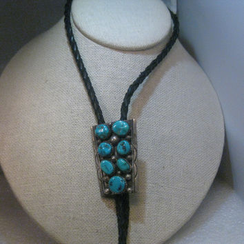 """Vintage Navajo Tommy Moore Sleeping Beauty Turquoise  Nugget Bolo Tie, 38"""",  signed"""