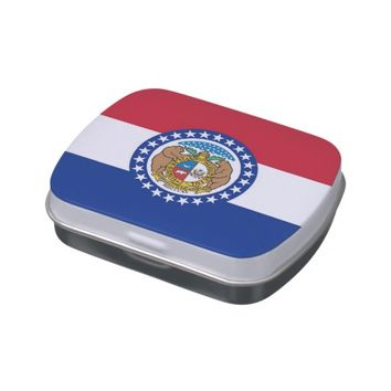 Patriotic candy tins with Flag of Missouri