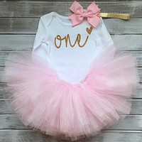 Baby One Year Birthday Dress Full Romper Headband Roupa Infantil Bebes 1st Birthday Outfit Toddler Girl Party Clothing Dress