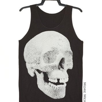 Crystal Diamond Skull Lost Tooth Charcoal Black Art Singlet Vest Tunic Tank Top Sleeveless Shirt Women Indie Punk Rock T-Shirt Size S-M