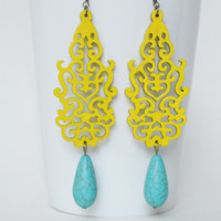 Yellow Earrings Bridesmaid Earrings Turquoise Earrings Women Gift Bridal Party Jewelry Statement Earrings Chandelier Earrings Wood Earrings