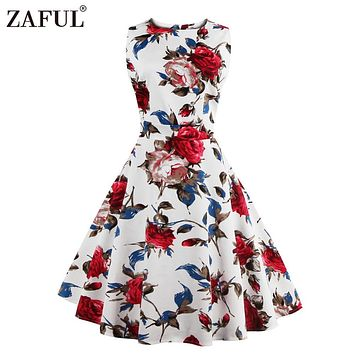 ZAFUL Brand 2017 Vintage Dress Women Robe High Waist Rockabilly Feminino Vestidos Retro sleeveless Party Midi Pleated Dresses