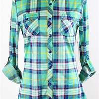 """Country Backwoods"" Button Up - Mint/Royal"