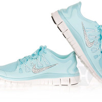 RESTOCKED! Nike Free 5.0 in Glacier Ice/Night Factor/Summit White with Swarovski crystal detail