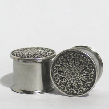"Fancy Swirl Plugs 0G 00G 7/16"" 1/2"" 0 00 Gauge 8mm 10mm 11mm 13mm"