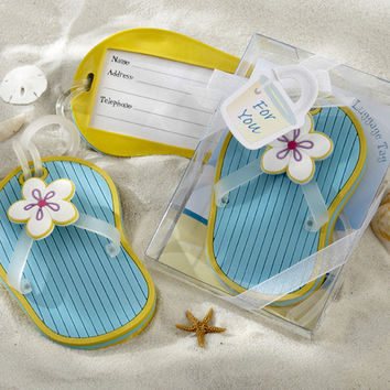 Beach Flip Flop Luggage Tag in Beach Themed Gift Box