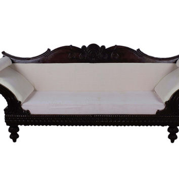 Teak Wood Handmade Big Diwan Sofa with Carved Back