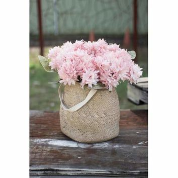 Woven Cement Planter With Long Cotton Handle - Large