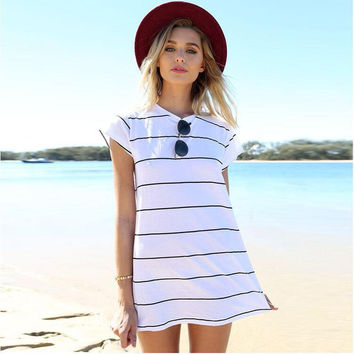 White and Black Stripe Short Sleeve Beach Dress